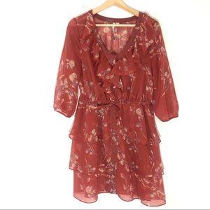 LC Lauren Conrad Orange Floral Ruffle Dress Size 6
